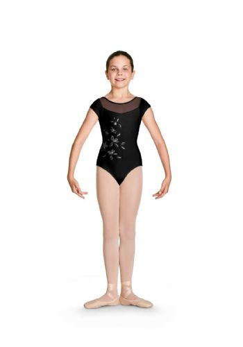 Bloch Girls Cap Sleeve Mesh Panels Floral Front Leotard CL4972 Helena Black